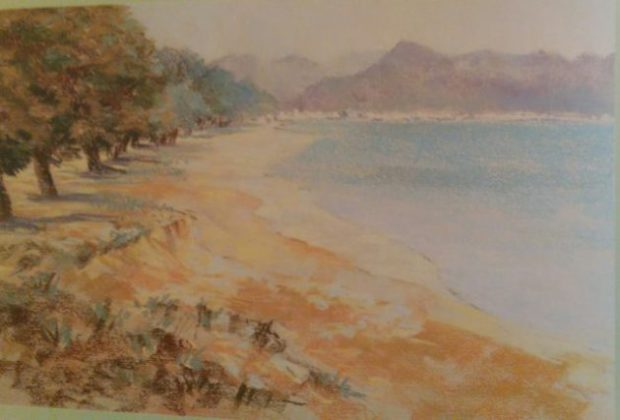 sketch of a landscape made with soft pastels