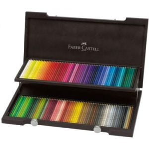 wooden box with Faber Castell colored pencils