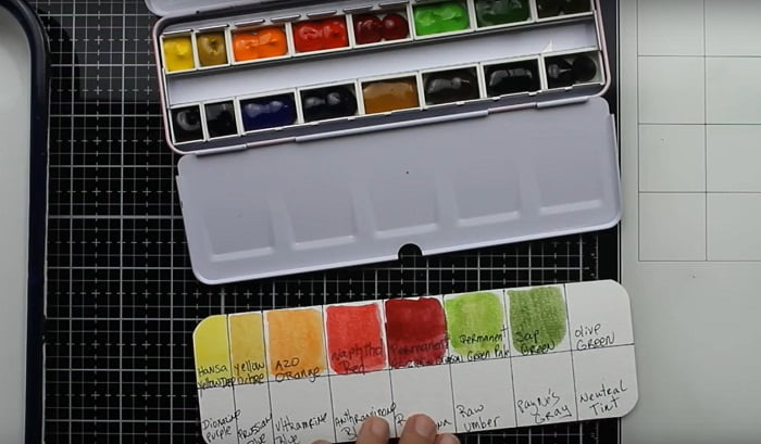 open box of M.Graham watercolors in pans next to the color chart