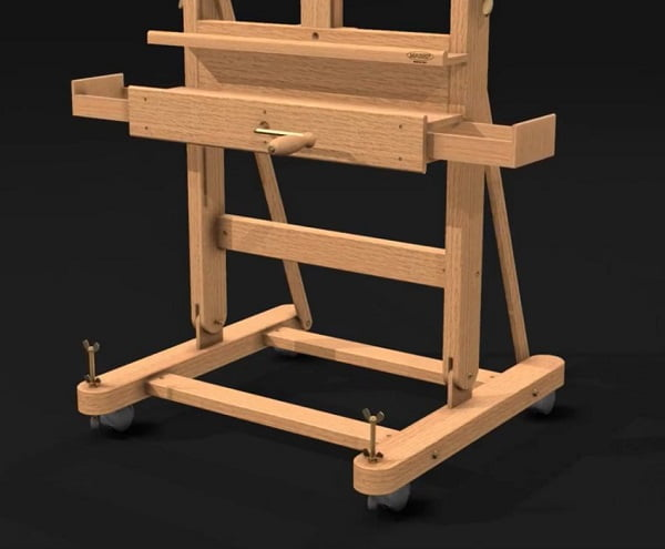 bottom half of Mabef H-frame easel M05 showing the tool tray
