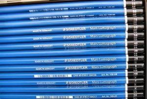 open box of staedtler mars lumpgraph graphite pencils