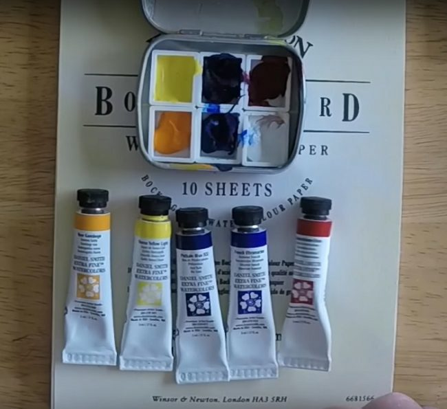 Daniel Smith watercolors in several tubes and half pans