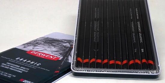opened box with Derwent graphite pencils