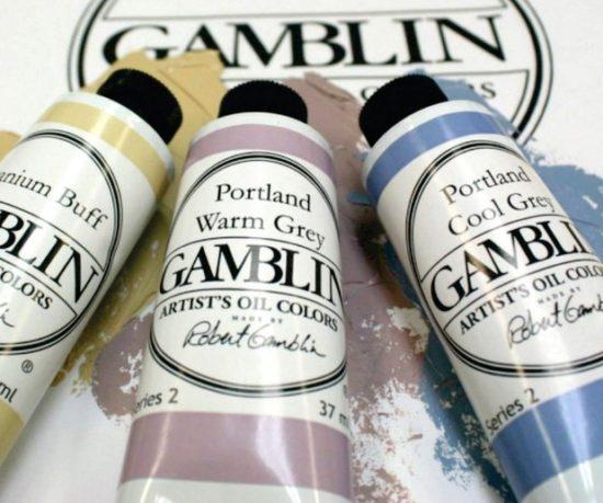 three tubes of gamblin artist oil colors