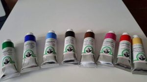 several tubes of Old Holland oil colors