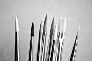 several different paintbrushes for oil painting