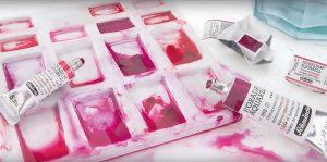 open box of schminke horadam aquarel shades of pink