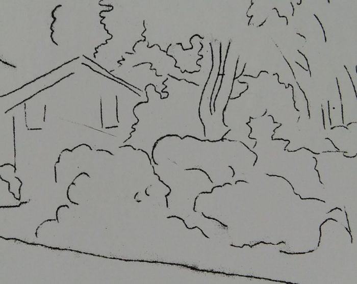 sketch of a house and several trees and bushes