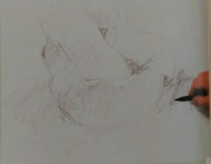 Sketch of basket with cloth made with graphite sticks on white paper