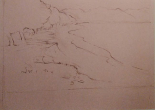 sketch of a landscape made with soft pastels on a white paper