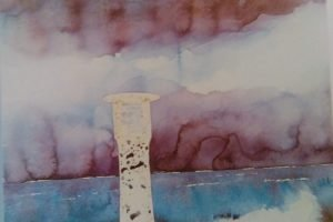 part of a skectch of a lighthouse in the storm done with watercolors
