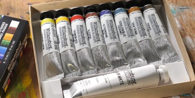 opened box of Williamsburg oil colors