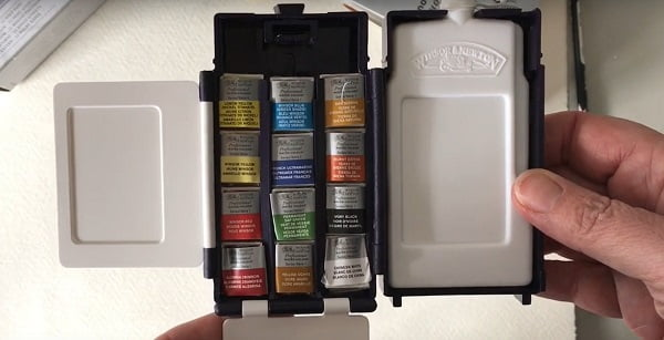 open box of winsor and newton watercolors