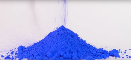 blue pigment used for the production for Winsor and Newton watercolors on white surface